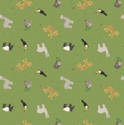 Lewis & Irene - Small Things World Animals - 6889 - South American, Green - SM26.2 - Cotton Fabric